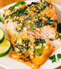 baked salmon with cilantro and lime