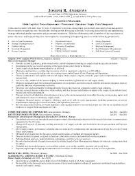 Logistics Job Resume Manager Format For Experienced Mysetlistco Enchanting Resume Letter
