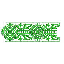 Green Embroidery Border Design 3