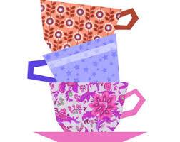 Tea Pot quilt block paper pieced quilt pattern PDF pattern & Cups Stacking quilt block, paper pieced quilt pattern, PDF pattern, instant  download, Adamdwight.com