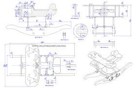 rocking airplane kids toy plan assembly 2d drawing