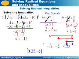 holt mcdougal algebra 2 solving radical equations and inequalities solving radical inequalities solve the inequality
