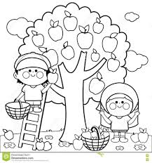 Coloring Pages Children Harvesting Apples Coloring Book Page