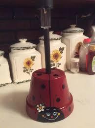 Ladybug Garden Lights Solar Light Holder Made From A Clay Pot Clay Pot Crafts