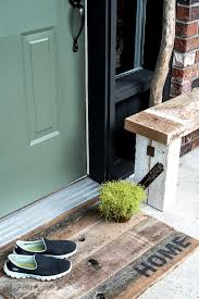 wele to my branched front door barn wood bench and wood mat