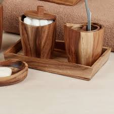 White Wooden Bathroom Accessories Acacia Handcrafted Wood Bath Accessories