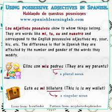 Learn Possessive Adjectives In Spanish Chart Examples
