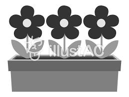 プランターの花モノクロイラスト No 344864無料イラストなら