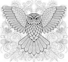 Vliegende Uil En Florale Sieraad In Zentangle Stijl Volwassen