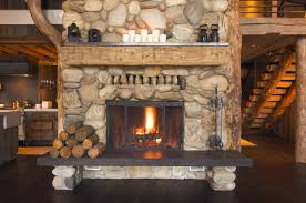 rustic fireplace in log cabin wall mural vinyl