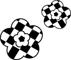 白黒チェック桜のかわいい無料イラスト 春41375 素材good