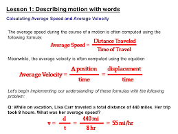 lesson 1 describing motion with words