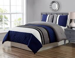 double bed comforter. Delighful Comforter Get Quotations  GrandLinen 3 Piece Navy BlueGreyBlackWhite Scroll  Embroidery Bed In A Throughout Double Comforter R