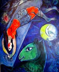 1910s blue circus by marc chagall