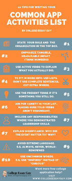 Tips For Writing College Essays How To Write Your Common App College Activities List