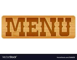 The Word Menu Nameplate Of Wood With Word Menu