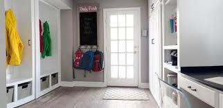 Midsized Elegant Ceramic Floor Entryway Photo In New York With Gray Walls And A