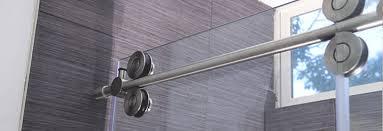 modern exposed roller glass shower door
