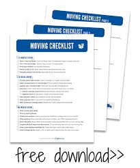 Free Printable Moving Checklist The Ultimate Moving Checklist Free Moving Printables Kit Life
