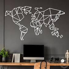 world map wall art geometric wall art