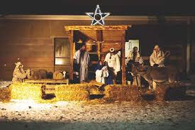 church living nativity with children and animals