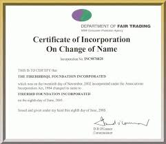 Firebird: Certificate Of Incorporation On Change Of Name
