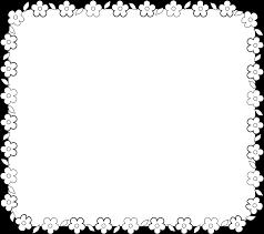 お花のお知らせ枠フレームイラスト白黒印刷用 園だよりお便り