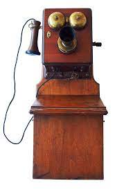 early wall mounted telephone wooden