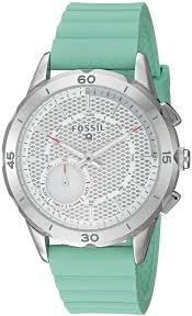 Amazon.com: Fossil Hybrid Smartwatch - Q Modern Pursuit Mint Green: Watches