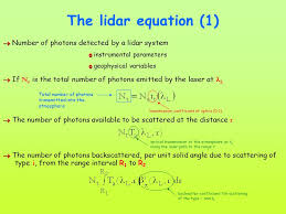 the lidar equation 1 number of photons detected by a lidar system