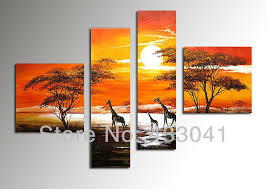 yellow home wall art decor african grasslands sunset happy giraffe family landscape oil painting on canvas 4 pieces sets