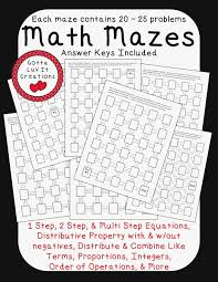 two step equations no prep ready to print math mazes covering the following math concepts order of