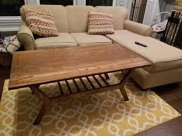 red oak mid century modern coffee table