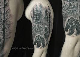 медведь лес не большой Cover Up лес медведь плечо тату