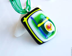 livemaster handmade green necklace handmade glass pendant necklace