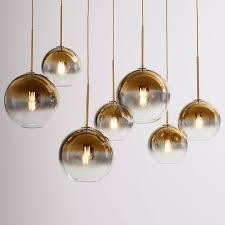 sculptural glass 7 light linear chandelier s m globe gold ombre shade brass