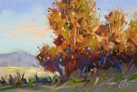 golden trees 5x7 impressionist original plein air oil painting by tom brown