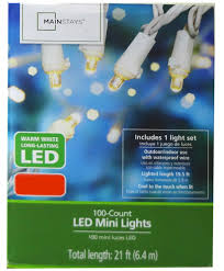Mainstays Warm White Led Lights Mainstays Warm White 100 Count Led Mini String Lights Indoor Outdoor Decor
