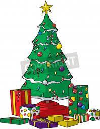 a vector cartoon christmas tree with