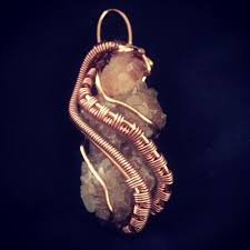 aragonite and copper wire wrap necklace pendant