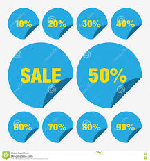 Set Template Blue Sale Tag Vector Icon Percent, Tag Sale Vector, Set ...