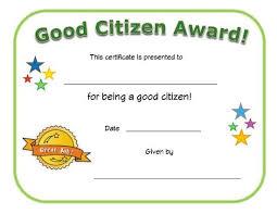 Good Citizen Award Certificate Good Listener Award