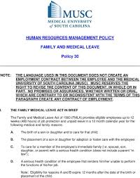 Musc Doctors Note Human Resources Management Policy Family And Medical Leave
