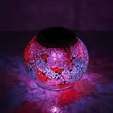 Solar Powered Mosaic Glass Ball Light Led Garden Lights Night Lamp Table Lamps Lawn Light With Rgb Color Gradual Changing White Led For Landscape