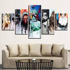 star wars canvas wall art 5 pieces hd paintings on star wars canvas panel wall art with star wars canvas wall art 5 pieces hd paintings oneshopexpress
