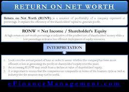 Net Worth Of Business Return On Net Worth Ronw Define Formula Explained