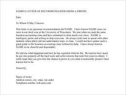 sample re mendation letter from a friend pdf