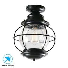 greer 1 light black outdoor semi flush mount lantern