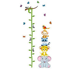 Cartoon Animals Growth Chart Wall Stickers Height Measurement Removable Wall Decals Home Decor Art Mural Baby Boys Girls Kids Bedroom Kitchen Room