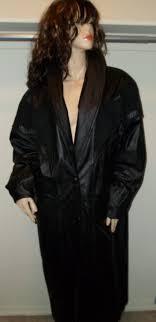 vintage retro boho womens black leather long duster